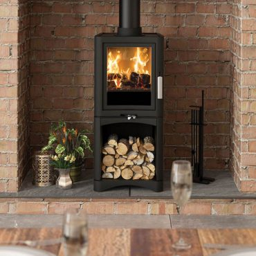The sleek and impressive stoves can be free standing or situated within a fireplace. For a greater presence and convenience, there are also log store versions.